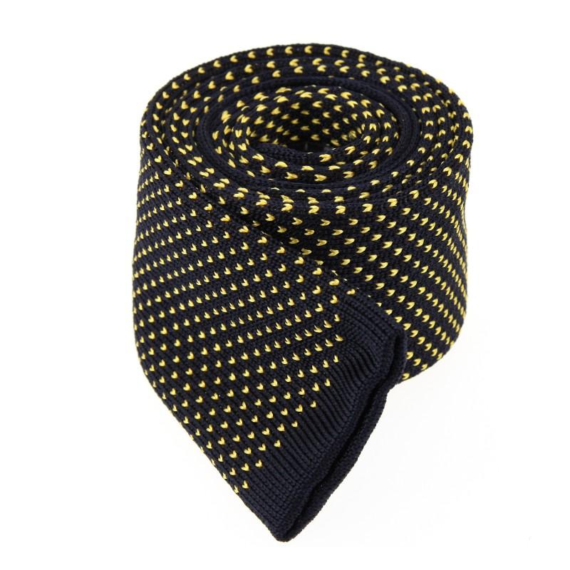 Marineblaue Strickkrawatte mit gelbe Muster - San Marino