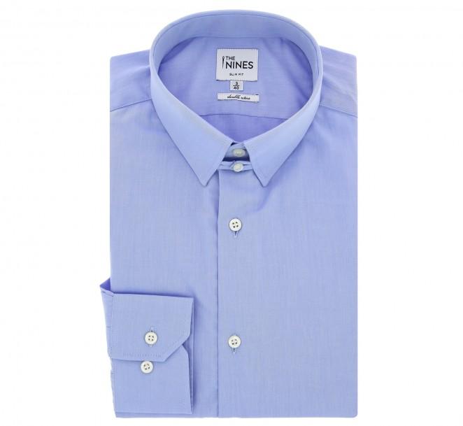 blaues slim fit popeline hemd mit englischem kragen. Black Bedroom Furniture Sets. Home Design Ideas