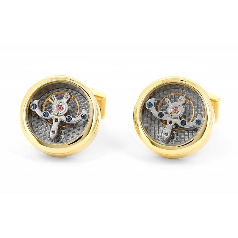 Goldene Tourbillon Uhrwerk-Manschettenknöpfe - Genève gold