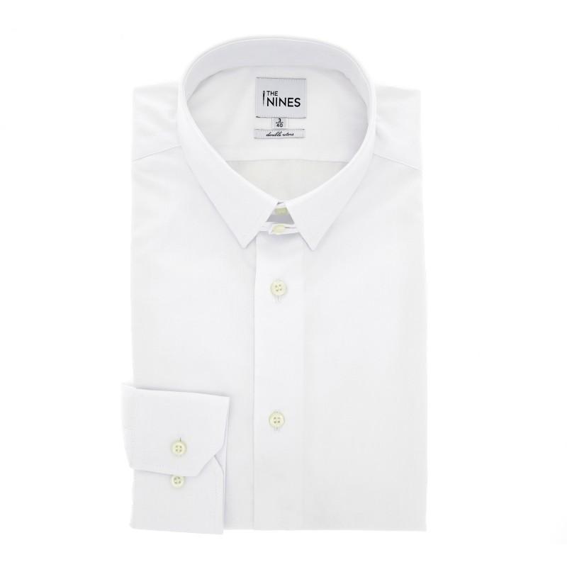 Weisses regular-fit Popelinehemd mit englischem Kragen und einfachen Manschetten