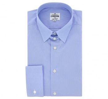 Regular-fit blaues Umschlagmanschetten-Hemd mit Streifen und englischem Kragen