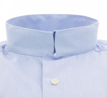 Slim-fit blaues Popeline Hemd mit Umkehrkragen