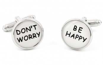Spruch Manschettenknöpfe - Don't Worry Be Happy