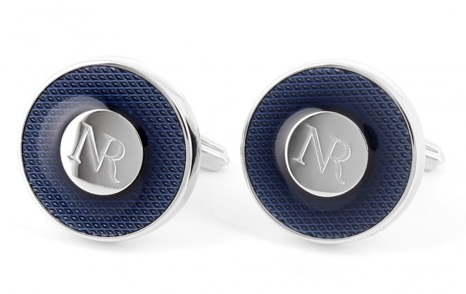 Nina Ricci - Runde blaue Lack-Manschettenknöpfe