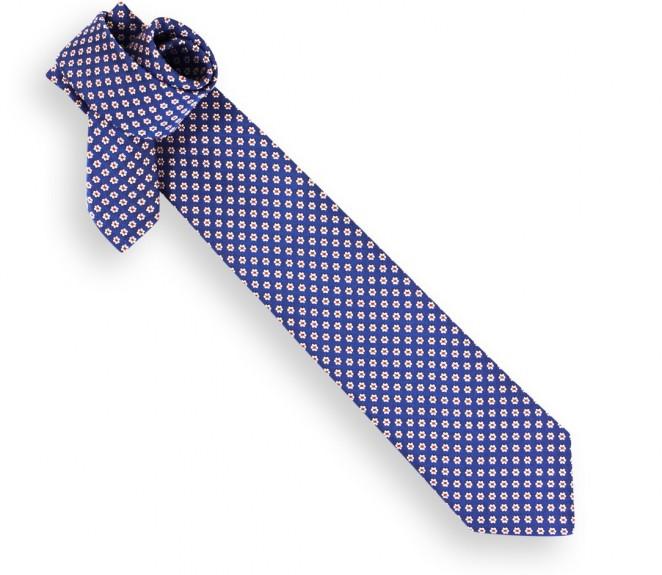 blaue krawatte mit blumenmuster das krawattenhaus. Black Bedroom Furniture Sets. Home Design Ideas
