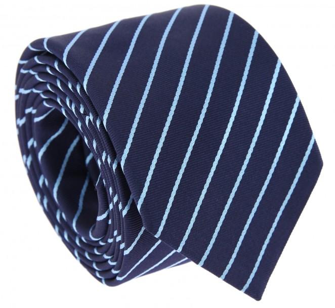 Marineblaue Krawatte mit himmelblauen und roten Streifen- Tenby