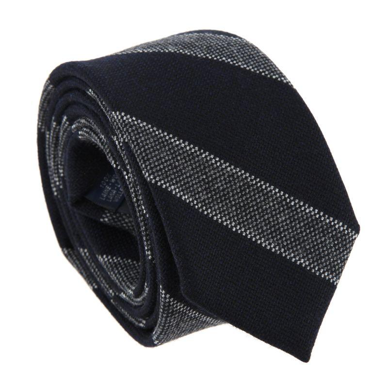 Marineblaue The Nines Geflochtene Seide und Wolle Krawatte - Baltimore IV