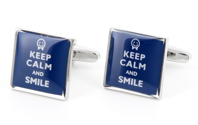 Spruch Manschettenknöpfe - Keep Calm and Smile