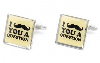 Spruch Manschettenknöpfe - I Mustache You a Question