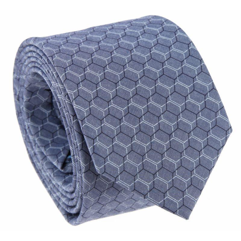 denimblaue baumwollkrawatte geometrische figuren das krawattenhaus. Black Bedroom Furniture Sets. Home Design Ideas