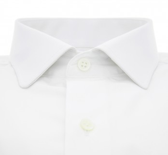 Tailored Fit Weisses Umschlagmanschetten-Hemd mit abgerundetem Italienischem Kragen