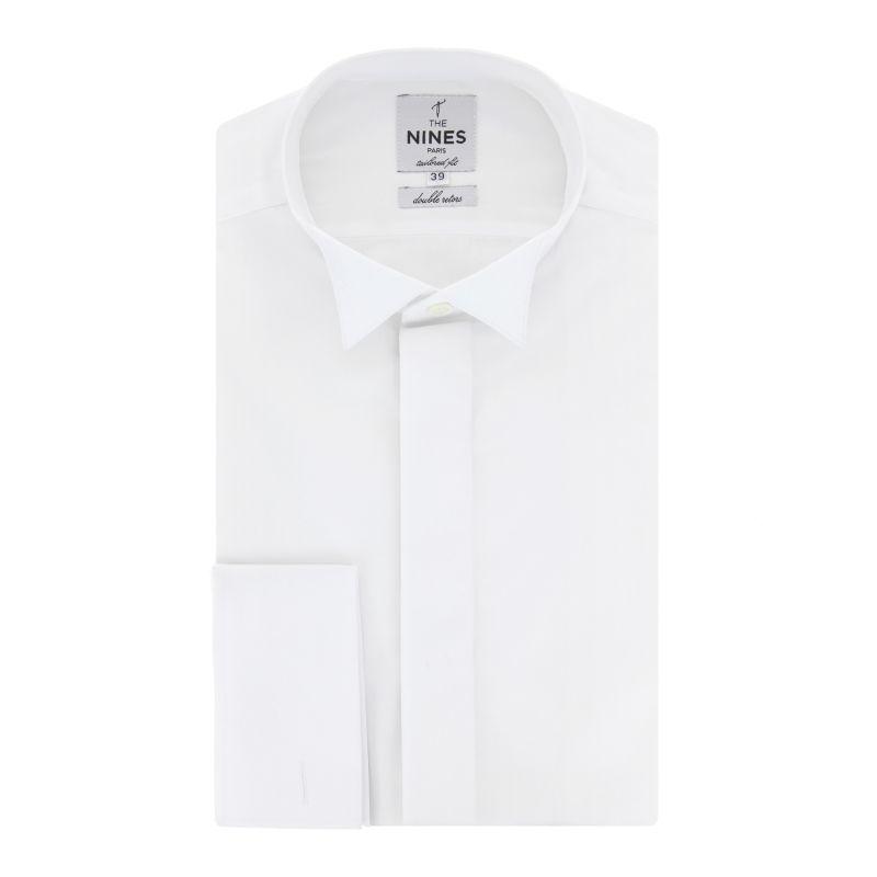 taillierte fit weisses umschlagmanschetten hemd mit verdecktem. Black Bedroom Furniture Sets. Home Design Ideas