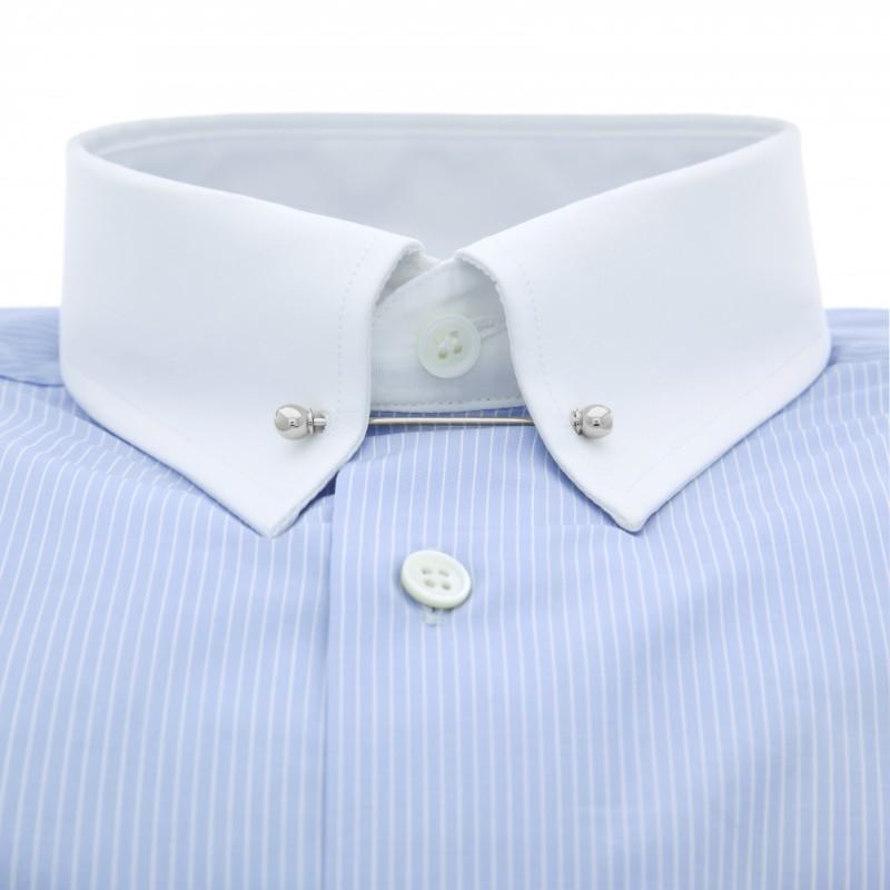 tailored fit himmelblaues hemd nadelkragen herren hemden. Black Bedroom Furniture Sets. Home Design Ideas