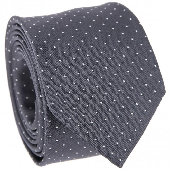 Anthrazitfarbene Krawatte mit weißen Punkten - Washington II