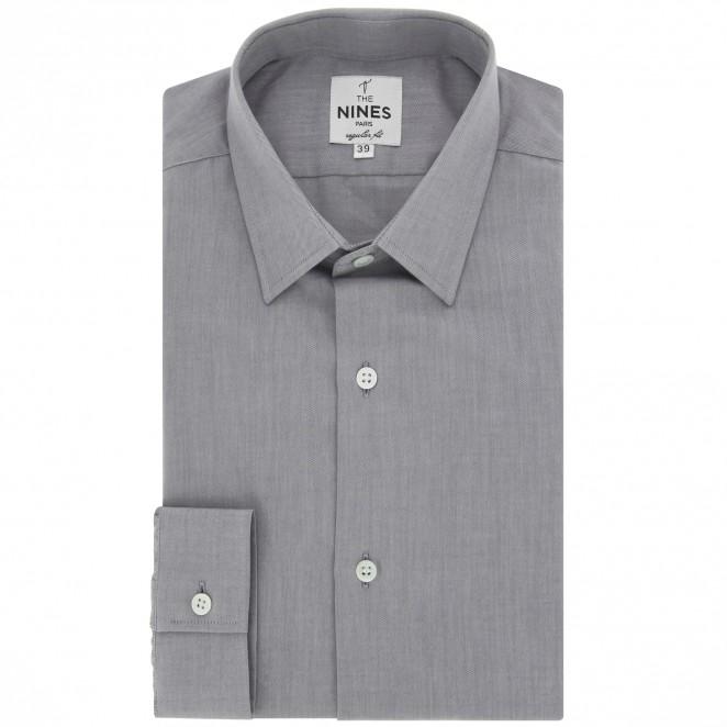 graues hemd mit japanischem kragen regular fit herrenhemd. Black Bedroom Furniture Sets. Home Design Ideas