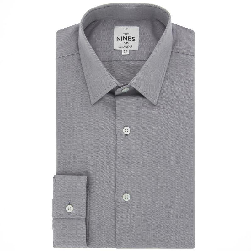 graues hemd mit japanischem kragen tailored fit herrenhemd. Black Bedroom Furniture Sets. Home Design Ideas