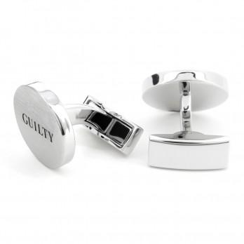 Guilty/Not guilty brushed silver cufflinks - Courthouse