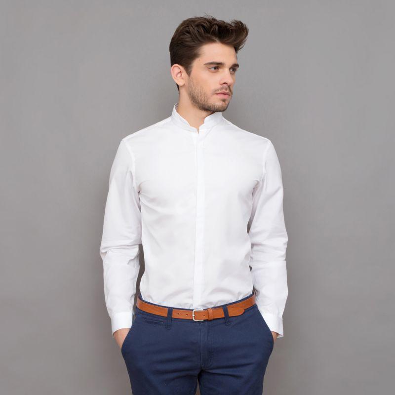 wei es hemd mit rundem mandarinkragen slim fit herrenhemd. Black Bedroom Furniture Sets. Home Design Ideas