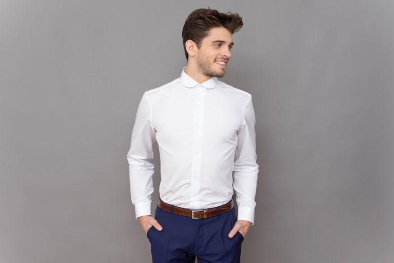 tailored fit weisses hemd runder kragen herren hemden. Black Bedroom Furniture Sets. Home Design Ideas