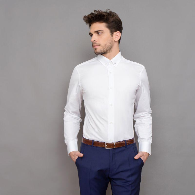 tailored fit wei es hemd nadelkragen herren hemden. Black Bedroom Furniture Sets. Home Design Ideas