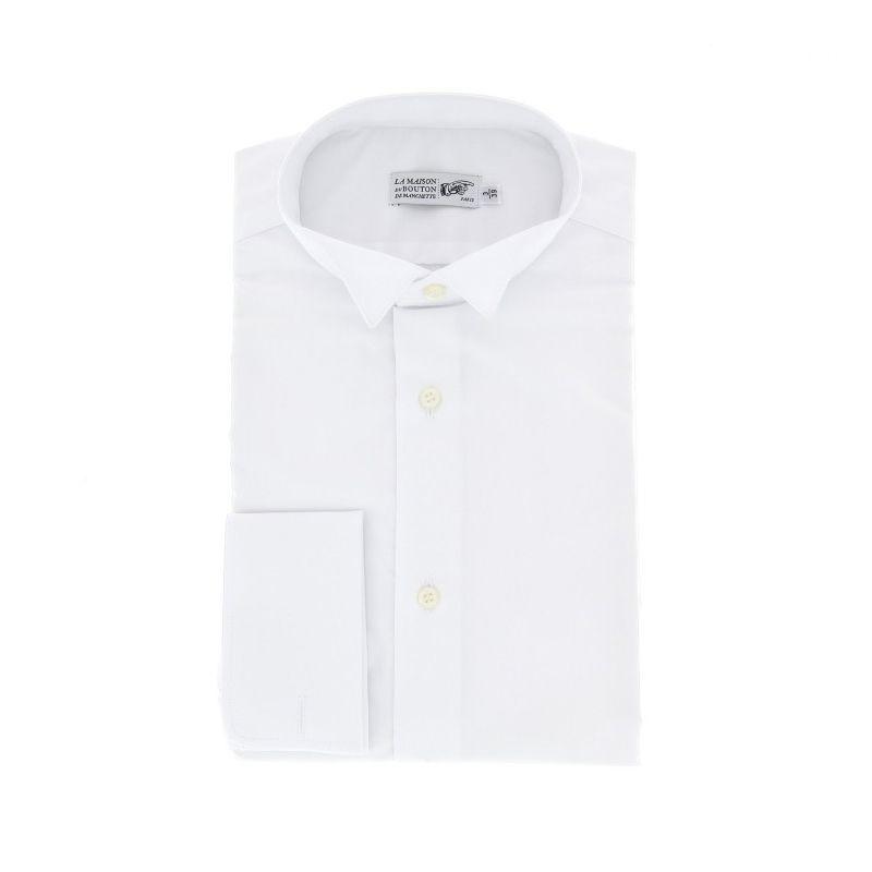 Weisses taylored-fit Hemd mit Umschlagmanschette mit Kläppchenkragen
