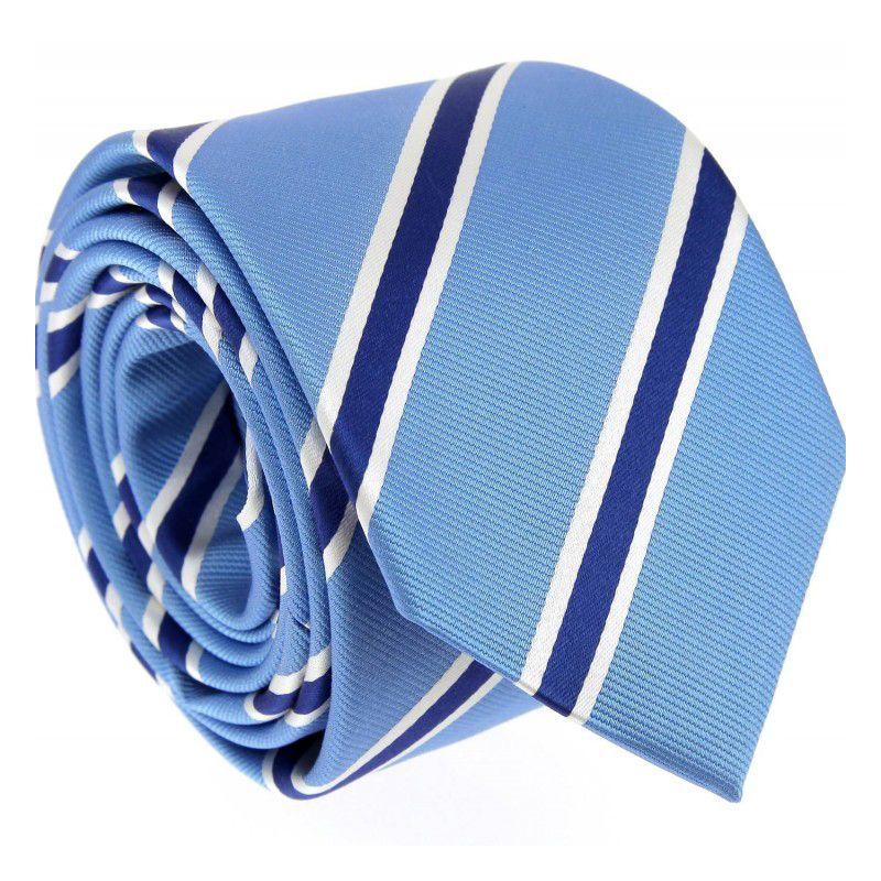Himmelblaue Krawatte mit marineblauen und weißen streifen - Boston VI