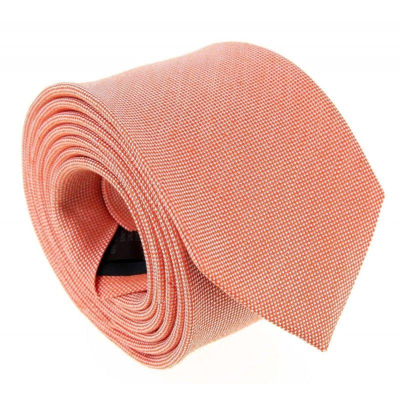 Orange Pastelfarbene geflochtene Leinen und Seide-Krawatte - Parme