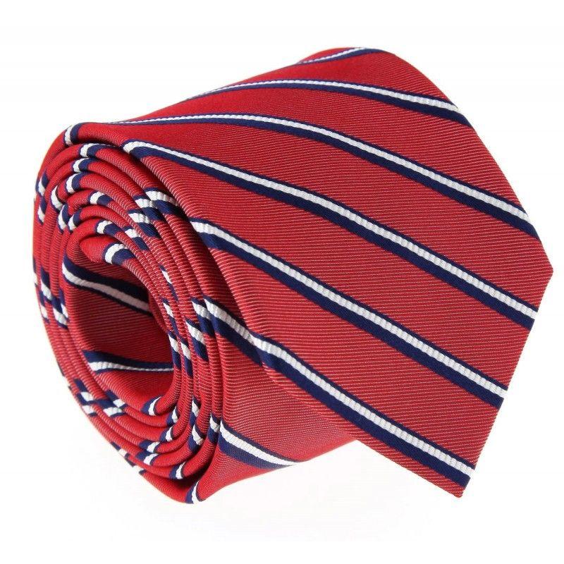Rote The Nines Krawatte mit marineblauen und weissen Streifen - Devon