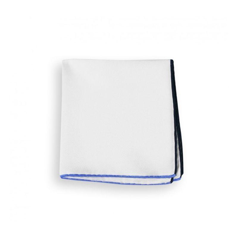 Weißes Einstecktuch mit blauem Saum - Saint-Tropez