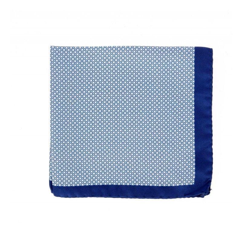 Blaue Einstecktuch mit himmelblau kariertemotiv - Portofino