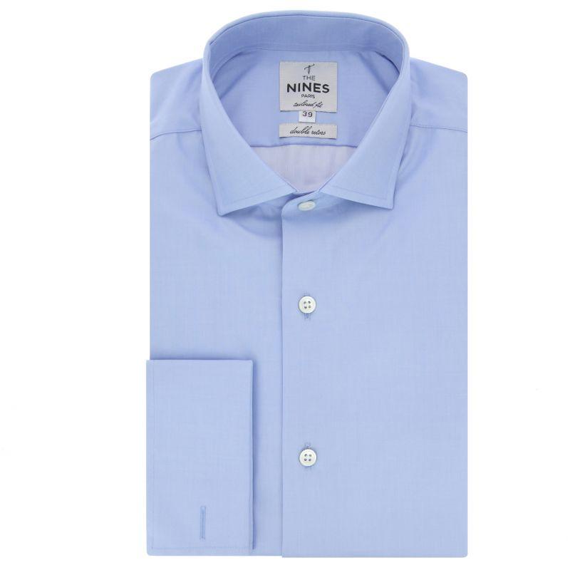 Blaues Umschlagmanschetten-Hemd mit Haifischkragen Tailored-fit