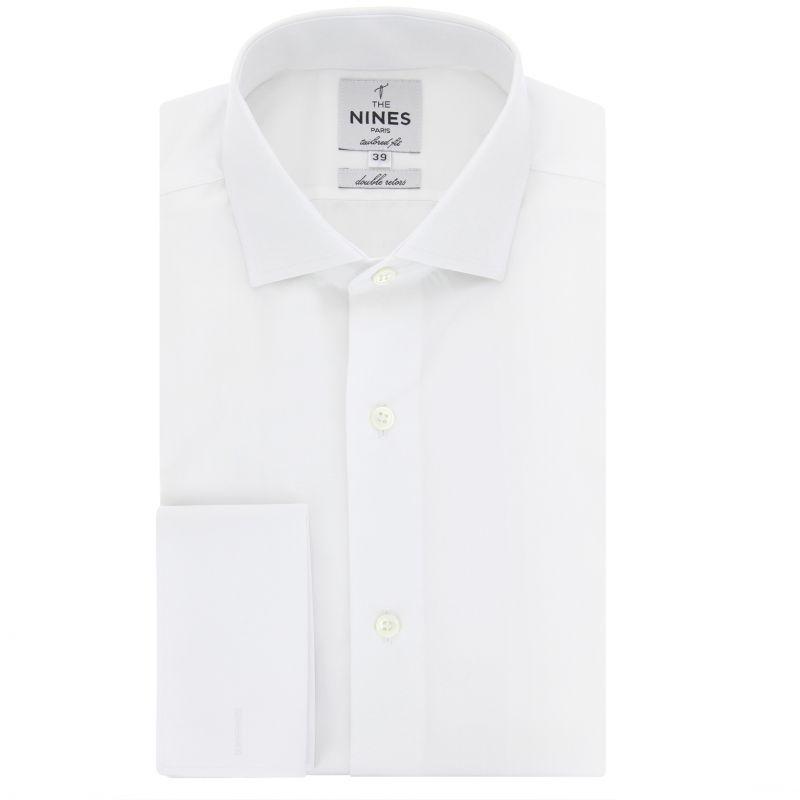 Weißes Umschlagmanschetten-Hemd mit Haifischkragen Tailored-fit