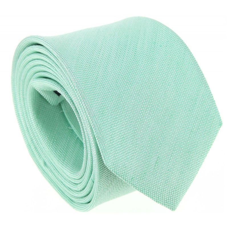 Wassergrüne geflochtene Krawatte aus Leinen und Seide - Parme
