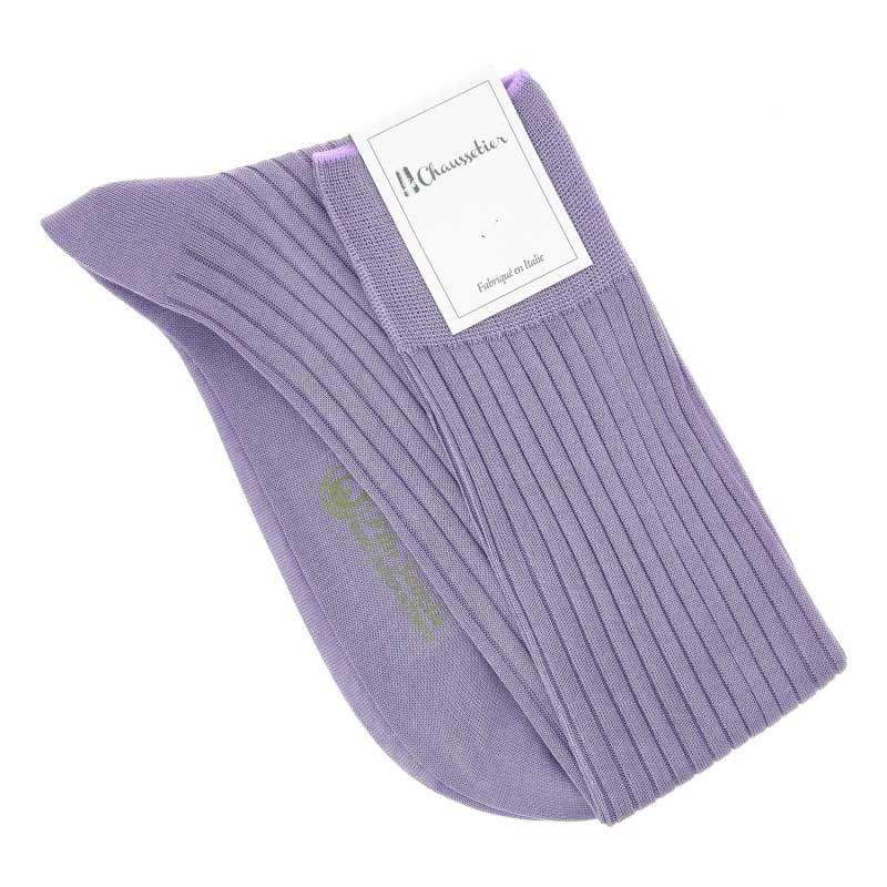 Knielange feine Baumwollsocken in Lavendel