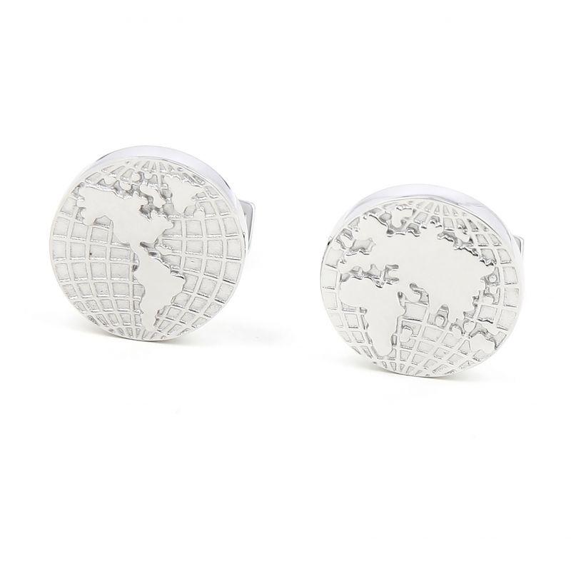 Weltkarte Massivsilber Manschettenknöpfe - Globe trotter