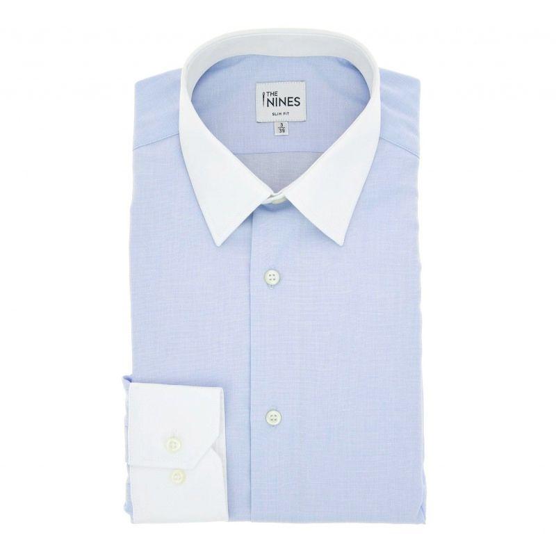Himmelblaues Umschlagmanschetten-Hemd mit weißem Französischen Kragen Regular-fit