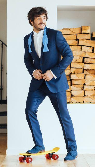 Navyblauer Anzug mit Kaviarmuster von The Nines