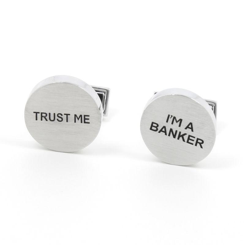 Bankkaufmann Manschettenknöpfe aus gebürstetem Silber - Trust Me I'm a Banker