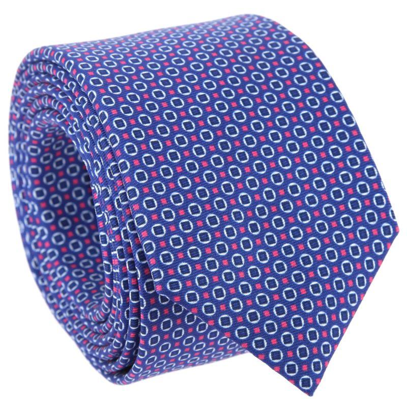 Dunkelblaue Krawatte mit navyblauen und pinken Rundem und quadratischem Muster The Nines