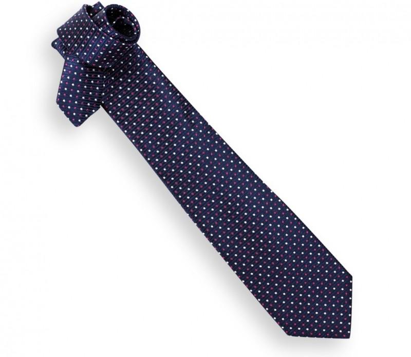 Marineblaue Krawatte mit Fuchsienrote Punkten - Lille
