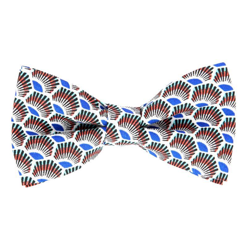 Blaue Fliege mit bordeauxfarbenem Federmuster aus Baumwolle The Nines