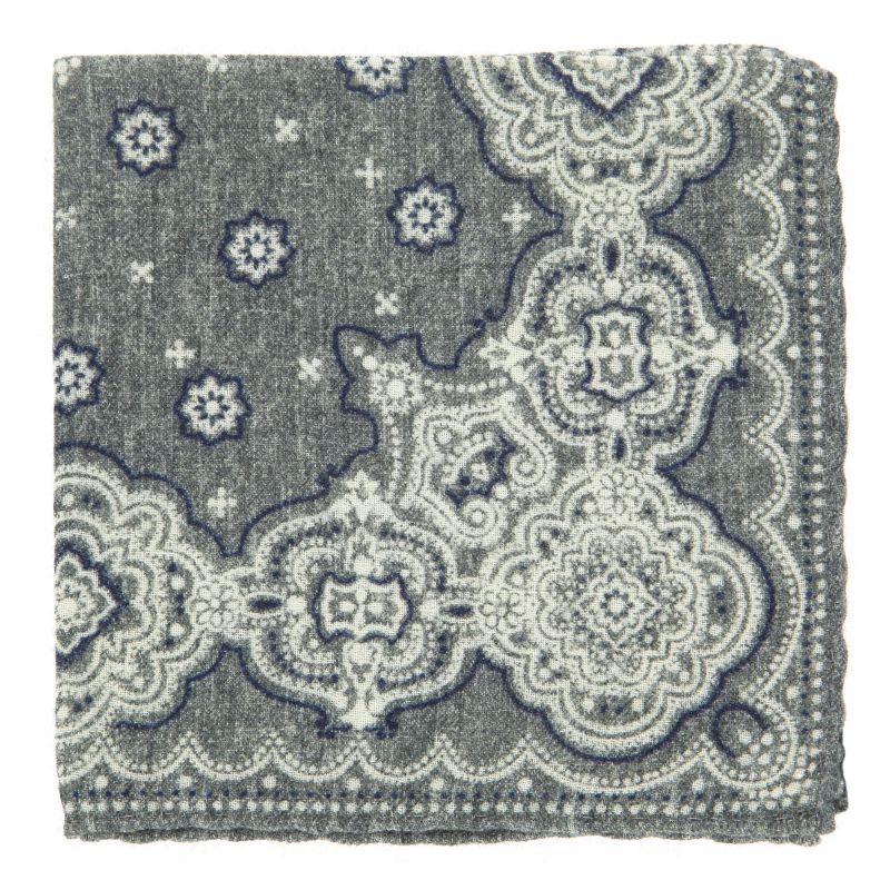 Graues Einstecktuch mit Kaschmirmuster aus Wolle The Nines