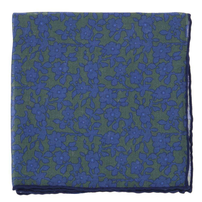 grunes einstecktuch aus wolle und kaschmir mit blauen blumen the nines. Black Bedroom Furniture Sets. Home Design Ideas