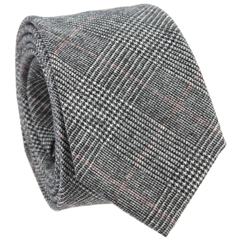 graue krawatte mit rotem glencheck muster the nines. Black Bedroom Furniture Sets. Home Design Ideas