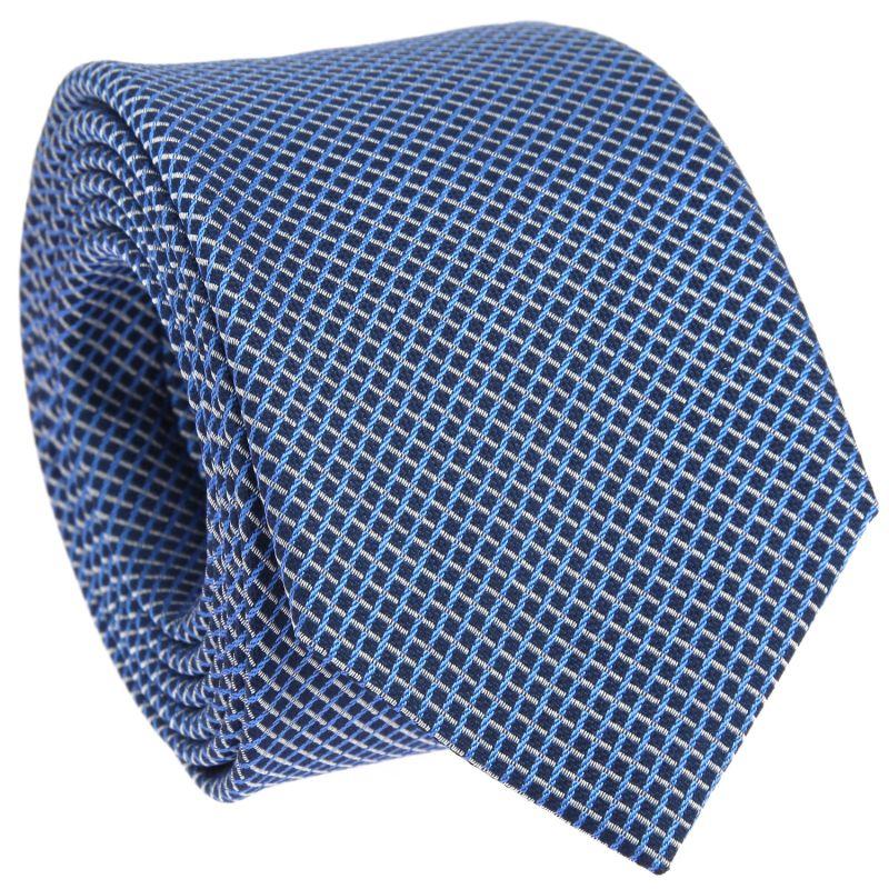 Navyblaue Krawatte mit himmelblauen und weissen Quadraten The Nines