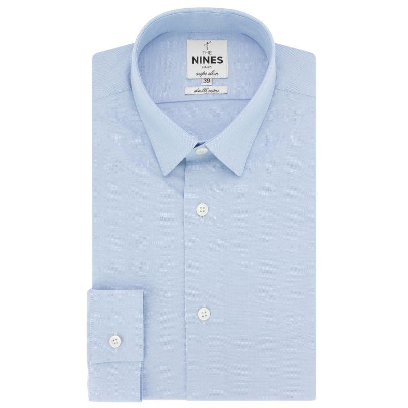 Hellblaues Oxford-Hemd mit kleinem Kragen Slim-fit