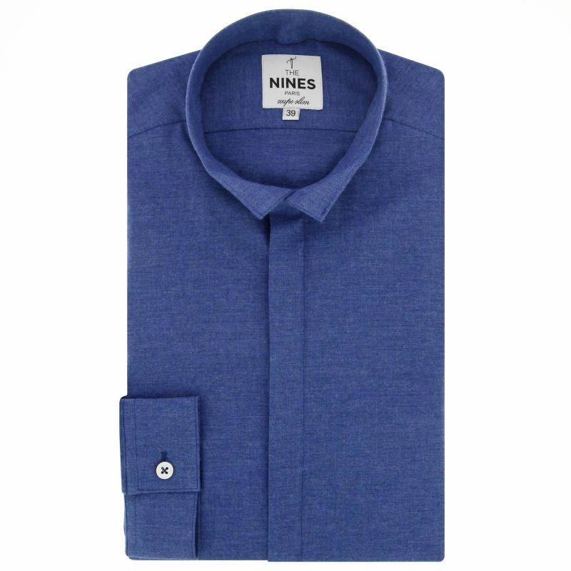Dunkelblaues Flanell-Hemd mit Umkehrkragen Slim-fit