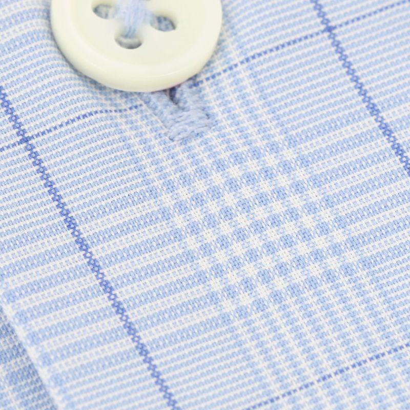hellblaues glencheck muster hemd mit cutaway kragen extra slim fit - Glencheck Muster