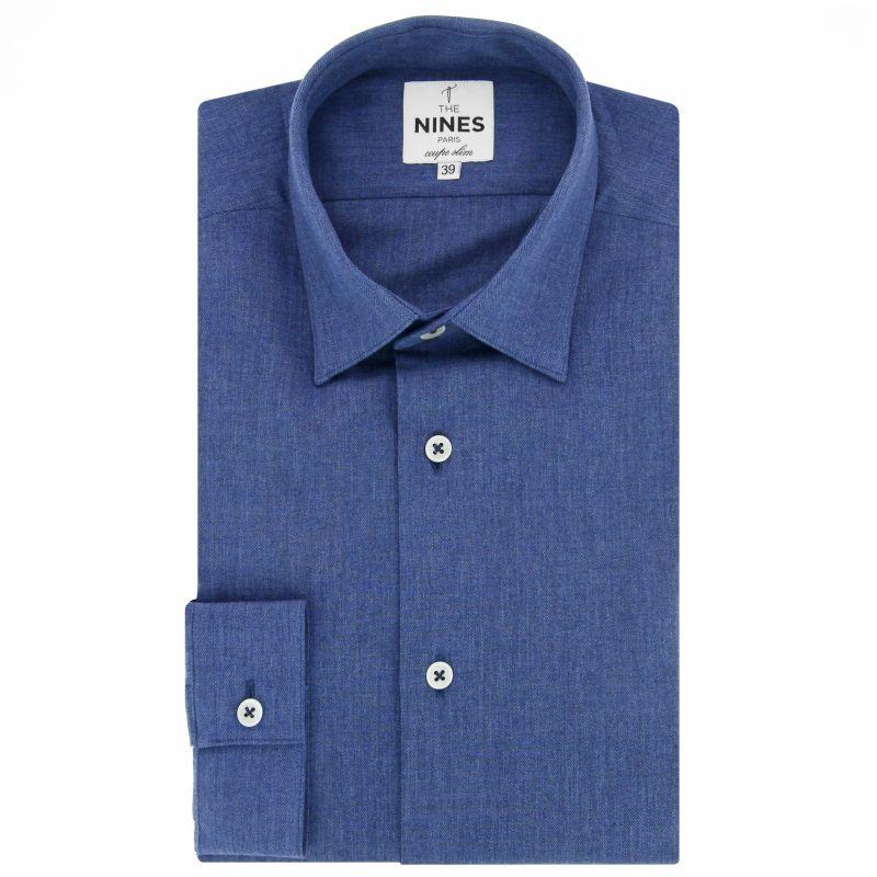 Blaues Flanell-Hemd mit Japanischer Kragen Slim-fit