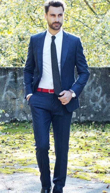 Marineblauer Anzug aus Wollflanell von The Nines